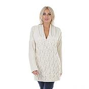 Кашемировый белый свитер-платье вязаный - тренд холодного сезона!