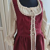 Субкультуры handmade. Livemaster - original item Dress medieval linen Bordeaux Medieval. Handmade.