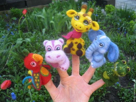 Кукольный театр ручной работы. Ярмарка Мастеров - ручная работа. Купить Зоопарк - пальчиковый театр. Handmade. Пальчиковый театр, слон