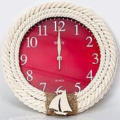 """Для дома и интерьера ручной работы. Ярмарка Мастеров - ручная работа Настенные часы из каната """"Алые"""". Handmade."""