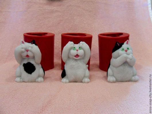 """Другие виды рукоделия ручной работы. Ярмарка Мастеров - ручная работа. Купить Силиконовые формы для мыла """"Коты - не вижу, не слышу, не скажу"""". Handmade."""