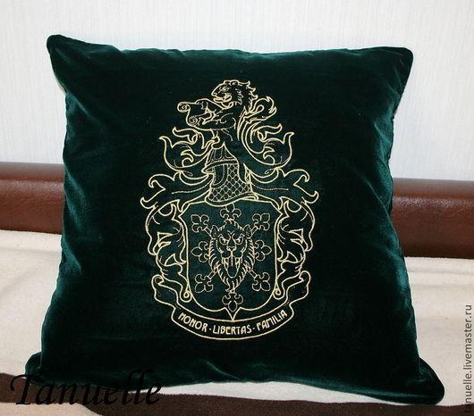 Текстиль, ковры ручной работы. Ярмарка Мастеров - ручная работа. Купить Подушка декоративная с вышивкой. Handmade. Тёмно-зелёный