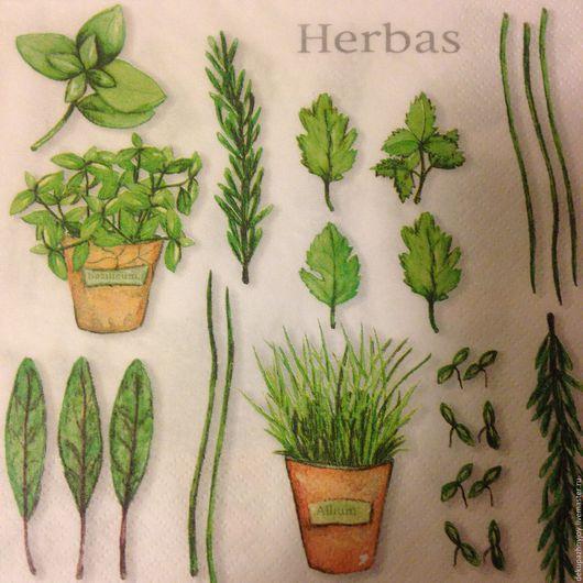Зелень в горшочке, мята, розмарин и т.д.-салфетка для декупажа Декупажная радость