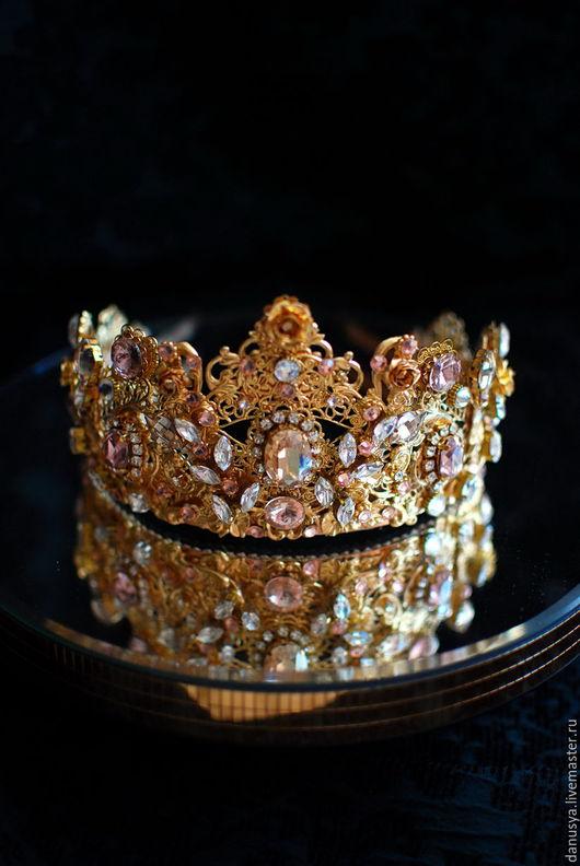 """Диадемы, обручи ручной работы. Ярмарка Мастеров - ручная работа. Купить Диадема """"Принцесса Бель"""". Handmade. Золотой, свадебная корона"""