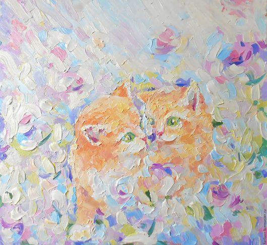 Животные ручной работы. Ярмарка Мастеров - ручная работа. Купить Картина. Рыжие котята и цветок.. Handmade. Кремовый, картина кот