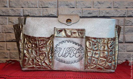 """Органайзеры для сумок ручной работы. Ярмарка Мастеров - ручная работа. Купить Органайзер кожаный для сумки """" Золото"""". Именной.. Handmade."""
