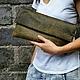 Женские сумки ручной работы. Ярмарка Мастеров - ручная работа. Купить Клатч из натуральной кожи Antique. Handmade. Оливковый, на заказ