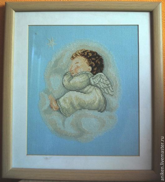 """Люди, ручной работы. Ярмарка Мастеров - ручная работа. Купить Вышивка крестом """"Ангел"""". Handmade. Голубой, для детской комнаты, ангелочек"""