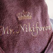 Одежда ручной работы. Ярмарка Мастеров - ручная работа Именной халат с вышивкой 1524. Handmade.
