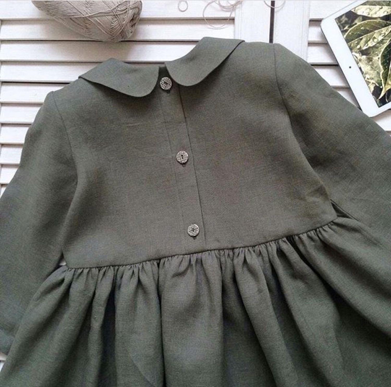 Детское платье Лён оливковый