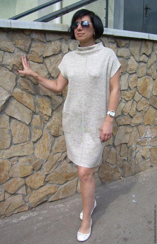 Платья ручной работы. Ярмарка Мастеров - ручная работа. Купить платье-мешок льняное вязанное. Handmade. Льняное платье, бежевый