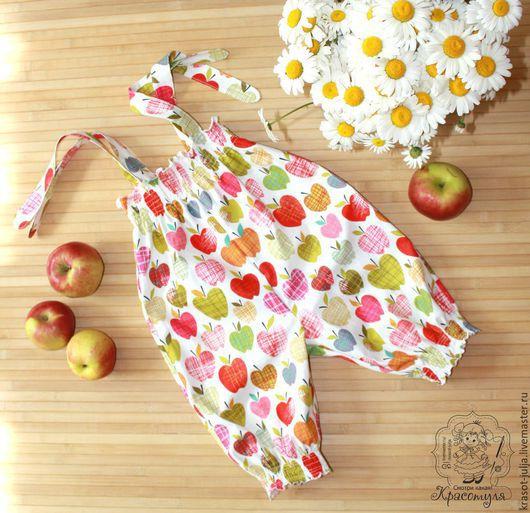Одежда для девочек, ручной работы. Ярмарка Мастеров - ручная работа. Купить Яблочный урожай. Комбинезон, песочник для девочки. Handmade. Белый