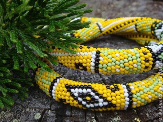 """Колье, бусы ручной работы. Ярмарка Мастеров - ручная работа. Купить Колье """"Yellow patchwork"""". Handmade. Вязаное колье"""