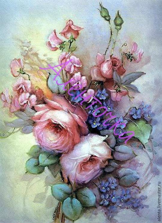Принт для вышивки лентами розы 123