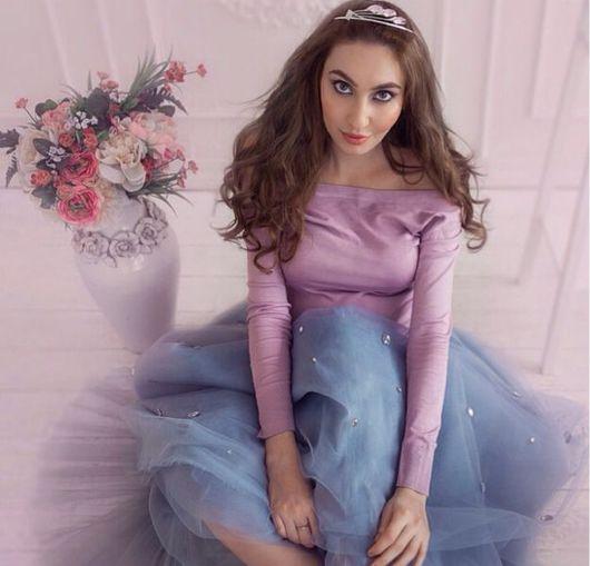 Юбки ручной работы. Ярмарка Мастеров - ручная работа. Купить Шикарная серая фатиновая юбка со стразами. Handmade. принцесса