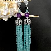 Украшения handmade. Livemaster - original item Earrings with agate and amethyst. Handmade.