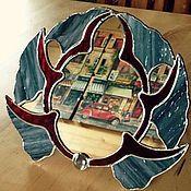 Для дома и интерьера ручной работы. Ярмарка Мастеров - ручная работа Витражное зеркальце, настольное. Handmade.