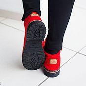 Обувь ручной работы. Ярмарка Мастеров - ручная работа Валяные полуботинки Красные. Handmade.