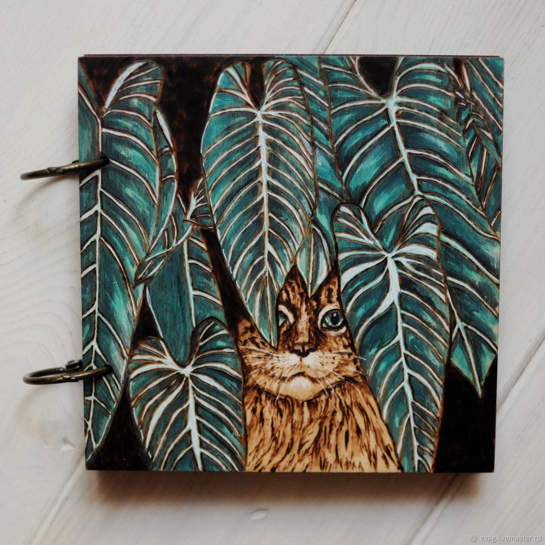 """Скетчбук 16х16см """"Кот в джунглях"""" Блокнот деревянный, Блокноты, Москва,  Фото №1"""