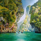Картины и панно ручной работы. Ярмарка Мастеров - ручная работа Морской и горный пейзаж Таиланд. Handmade.