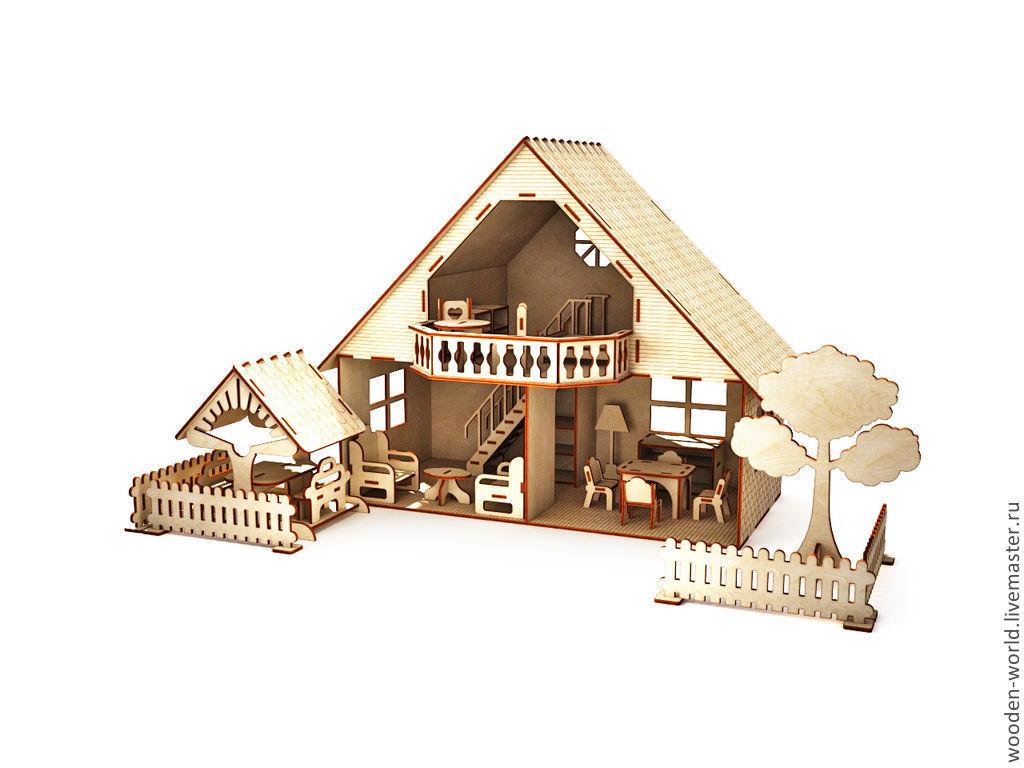 Кукольный дом ручной работы. Ярмарка Мастеров - ручная работа. Купить Кукольный домик с мебелью, беседкой и заборчиком. Handmade. Мебель