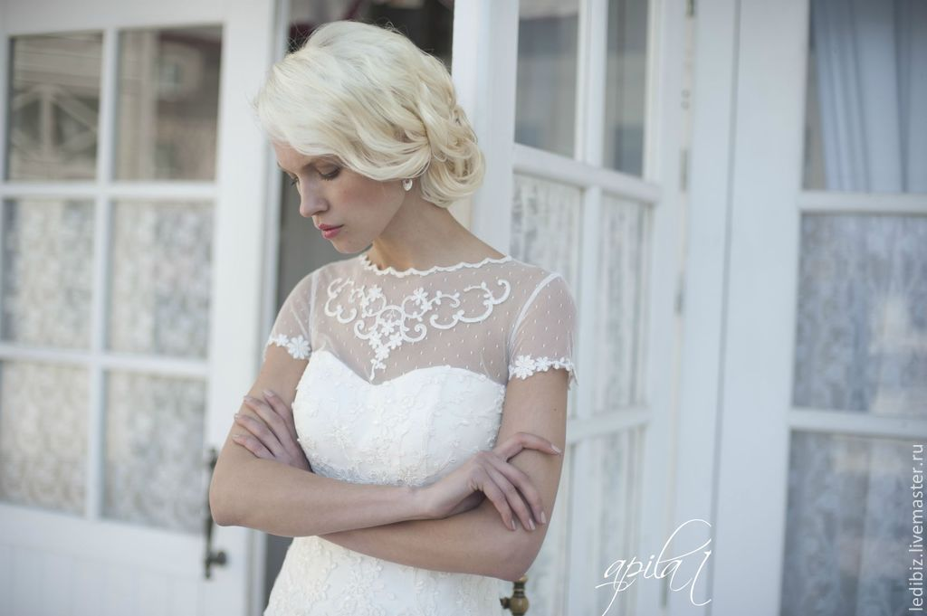 Lace Wedding Dress with Sleeves and Train – shop online on ...