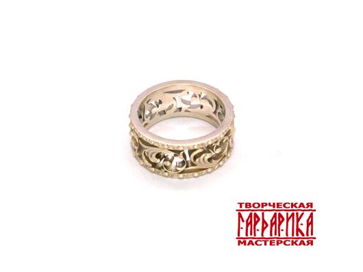Авторское кольцо из золота с растительным орнаментом