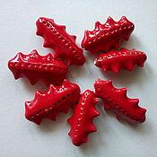 Материалы для творчества handmade. Livemaster - original item Red ceramic beads with spikes. Handmade.
