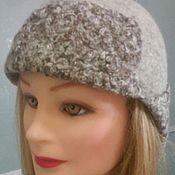 шапка-ушанка, валяная, женская, шерсть меринос бежевая