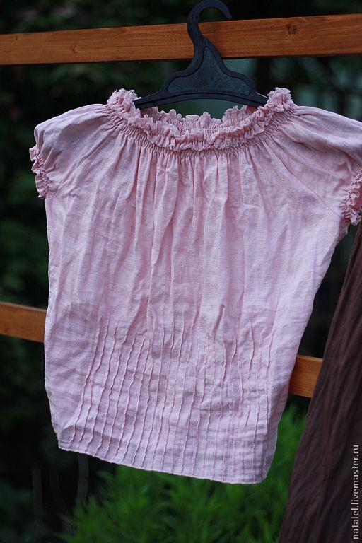 Блузки ручной работы. Ярмарка Мастеров - ручная работа. Купить Блузка в бохо-стиле из льна цвета пыльной розы. Handmade.
