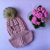 Шапки ручной работы. Ярмарка Мастеров - ручная работа Шапка-шлем Изящная для девочки, вязаная, шапочка зимняя. Handmade.