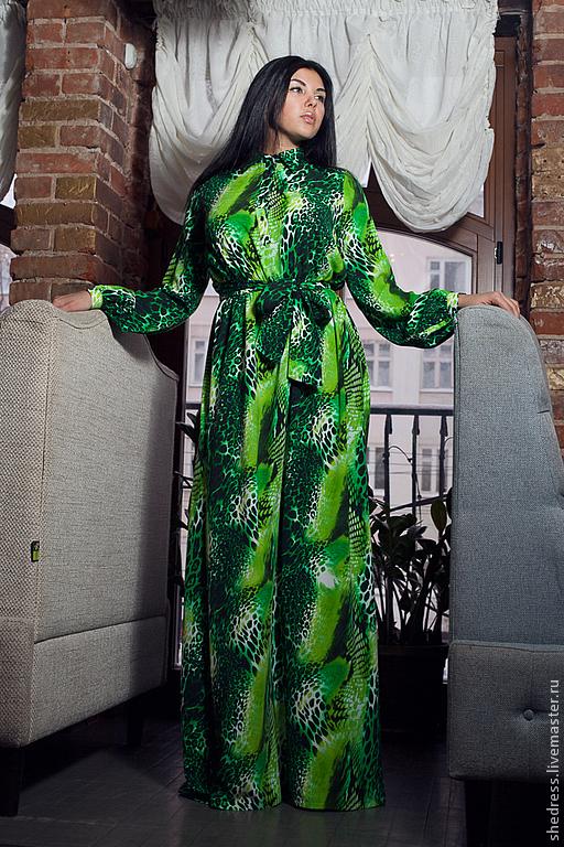 """Платья ручной работы. Ярмарка Мастеров - ручная работа. Купить Платье из крепа """"Тропикана"""". Handmade. Зеленый, леопардовый принт, креп"""