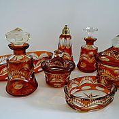 Винтаж handmade. Livemaster - original item Toilet set colored glass carving Bohemia 1920-1940 amber,. Handmade.