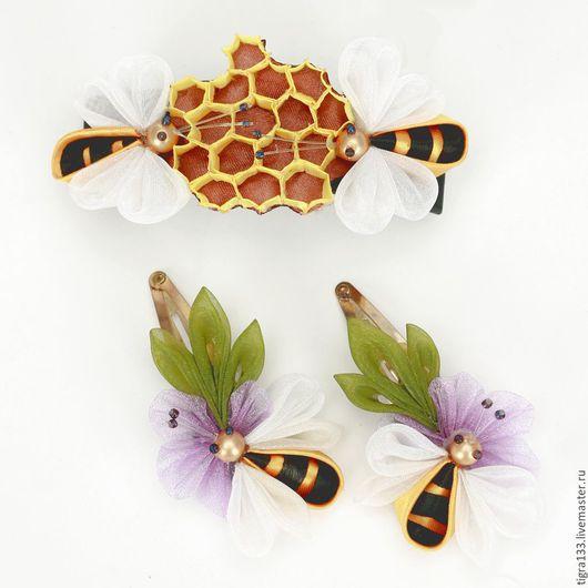 """Детская бижутерия ручной работы. Ярмарка Мастеров - ручная работа. Купить Комплект заколок """"Пчелки"""". Handmade. Пчела, пчелка, соты"""