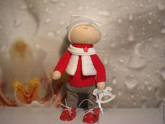 Коллекционные куклы ручной работы. Ярмарка Мастеров - ручная работа. Купить куколка - малышка мальчишка. Handmade. Ярко-красный, холофайбер
