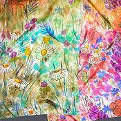 Аксессуары ручной работы. Ярмарка Мастеров - ручная работа Батик шарф «Цветы в поле». Handmade.