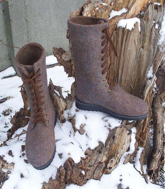 """Обувь ручной работы. Ярмарка Мастеров - ручная работа. Купить Войлочные ботинки """"Обереги"""". Handmade. Коричневый, коричневые ботинки"""