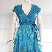 Одежда handmade. Livemaster - original item Satin dress Turquoise 5038. Handmade.