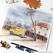 Картины и панно handmade. Livemaster - original item Autumn day. Watercolor (yellow, brown, terracotta, red, blue). Handmade.