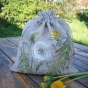 Для дома и интерьера handmade. Livemaster - original item Linen bag with painted Dandelions.... Handmade.