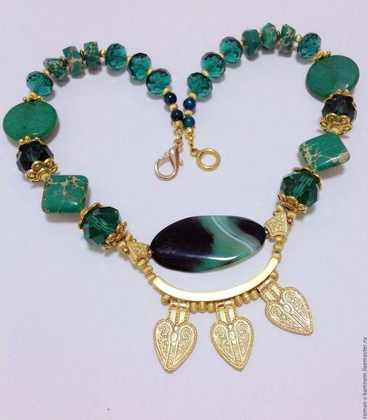 Комплект из натуральных камней в этническом восточном стиле Диана охотница. Оригинальный подарок для стильных неординарных женщин и девушек.