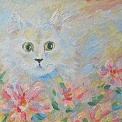 Картины и панно ручной работы. Ярмарка Мастеров - ручная работа Картина. Белый котик и цветы.... Handmade.