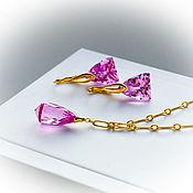 Украшения handmade. Livemaster - original item Jewelry sets with pink Topaz in gold. Handmade.