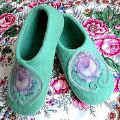 """Обувь ручной работы. Ярмарка Мастеров - ручная работа тапочки """" бирюза """". Handmade."""