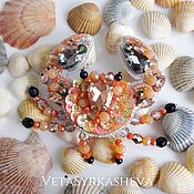 Brooches handmade. Livemaster - original item Crab bead brooch. Handmade.