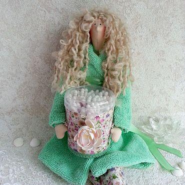 Куклы и игрушки ручной работы. Ярмарка Мастеров - ручная работа Тильда банный ангел - держатель ватных палочек. Handmade.