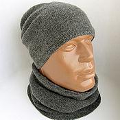"""Аксессуары ручной работы. Ярмарка Мастеров - ручная работа комплект мужской """" Dark grey"""" шапка и шарф-снуд. Handmade."""