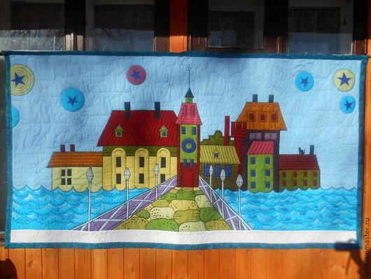 """Пледы и одеяла ручной работы. Ярмарка Мастеров - ручная работа. Купить Детский коврик на стену """"Оле Лукойе, домики"""". Handmade."""