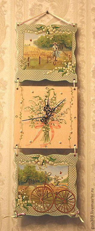 """Часы для дома ручной работы. Ярмарка Мастеров - ручная работа. Купить Часы-панно настенные """"Летняя прогулка"""" (2 вариант). Handmade."""