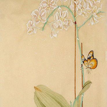 Картины и панно ручной работы. Ярмарка Мастеров - ручная работа Китайская живопись Орхидея и бабочка(картина цветы акварель гунби. Handmade.